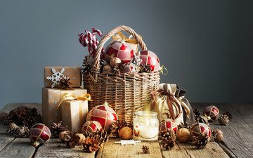 новый год, украшения, подарки, рождество, шишки, новогодние украшения, композиция