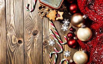 новый год, шары, украшения, рождество, печенье, леденцы, новогодние украшения