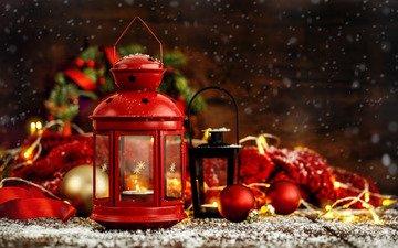 новый год, шары, украшения, подарки, фонарь, свеча, рождество, фонарики, рождественский фонарь
