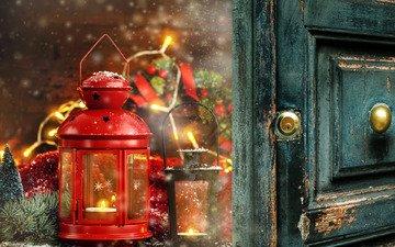 новый год, украшения, подарки, фонарь, свеча, рождество, фонарики, рождественский фонарь