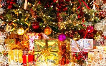 новый год, елка, шары, подарки, игрушки, праздник, рождество, новогодние огни