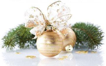новый год, игрушка, шар, ель, рождество, бант