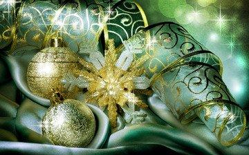 новый год, шары, зима, лента, праздник, рождество, снежинка, новогодние украшения