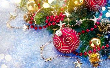 новый год, шар, игрушки, бусы, праздник, рождество, новогодние украшения