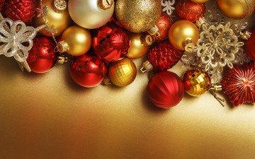 новый год, шары, красные, игрушки, праздник, рождество, золотистые, новогодние украшения