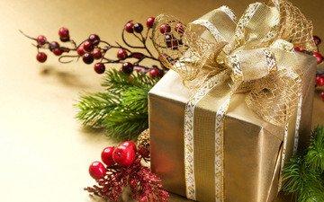 новый год, ягоды, подарок, рождество, бант, ветки ели