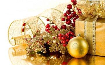 новый год, подарок, праздник, рождество, снежинка, бант, новогодние украшения, ветка ягод