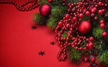 новый год, шары, бусы, праздник, рождество, украшение, ветки ели