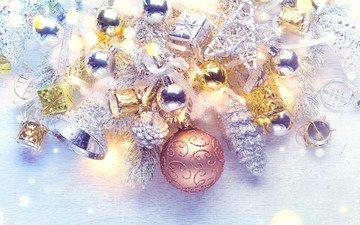 новый год, шары, игрушки, бусы, колокольчики, праздник, рождество, ветки ели