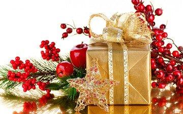 новый год, звезда, яблоко, подарок, праздник, рождество, бант, ветка ягод