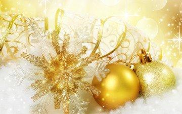 снег, новый год, шары, праздник, рождество, снежинка, золото
