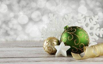 новый год, шары, украшения, звезда, лента, праздник, рождество, снежинка