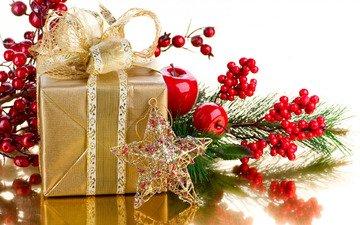 новый год, звезда, яблоко, подарок, праздник, рождество, бант, звездочка, ветка ягод