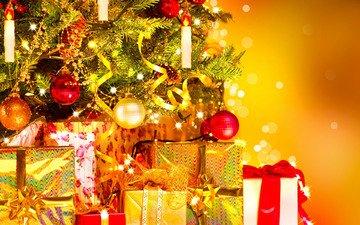 новый год, шары, подарки, ель, игрушки, рождество