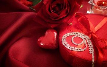 сердечко, любовь, ткань, свеча, подарок, романтик, ожерелье, день святого валентина, боке, валентинов день