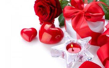 цветок, роза, сердце, романтика, лента, свеча, подарок