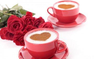 розы, кофе, сердце, праздник, день святого валентина, копучино