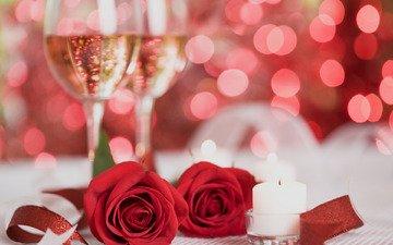 цветы, свечи, розы, красный, шампанское