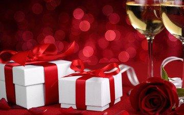 цветок, роза, подарки, бокалы, шампанское, день святого валентина, влюбленная