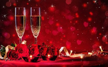 цветы, свечи, фон, розы, огонь, красные, ленточки, бокалы, сердечки, шампанское, день святого валентина, боке