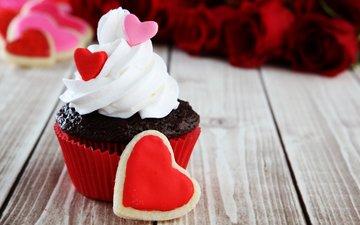 сердце, праздник, печенье, день святого валентина, пирожное, кекс, капкейк