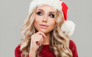новый год, блондинка, портрет, шапка, макияж, прическа, праздник, рождество, снегурочка