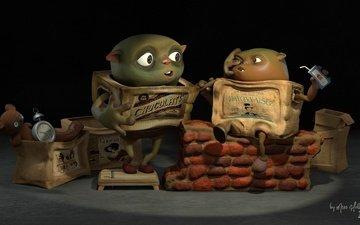 арт, часы, мишка, игрушка, коробка, будильник, мультфильмы, boxtrolls interpretation, hellene sau
