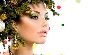 новый год, елка, украшения, девушка, ветки, шарики, модель, креатив, лицо, макияж, рождество, ожерелье, анна субботина