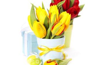 цветы, подарки, букет, тюльпаны, ваза, пасха, яйца, бантик