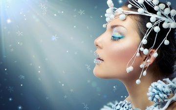 ветка, украшения, девушка, снежинки, модель, профиль, лицо, макияж, блестки, закрытые глаза, анна субботина