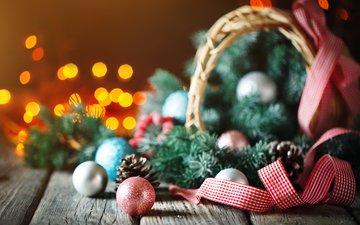 новый год, шары, праздник, рождество, елочные игрушки, новогодние украшения, еловые веточки
