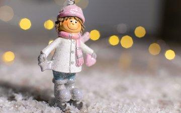 снег, новый год, статуэтка, мальчик, праздник, рождество, фигурка