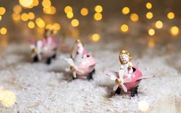 снег, новый год, снеговик, дед мороз, фигурки, праздник, рождество, декор, статуэтки