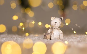 снег, новый год, зима, статуэтка, мишка, праздник, рождество, декор