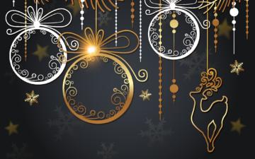 новый год, черный фон, праздник, рождество, открытка