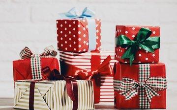 новый год, подарки, лента, рождество, бант, коробки