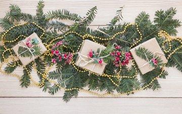 новый год, подарки, бусы, праздник, рождество, декор, ветки елки