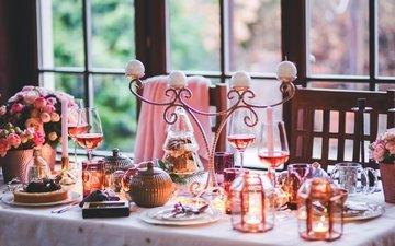свечи, новый год, вино, бокалы, праздник, шампанское, декор, сервировка, праздничный стол