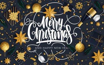 новый год, черный фон, праздник, рождество, открытка, новый род, новогодный год