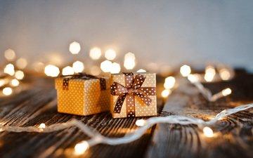 новый год, подарки, стол, праздник, рождество, огоньки