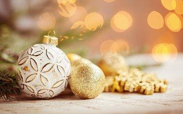 новый год, снежинки, шарики, праздник, рождество, золото, декор