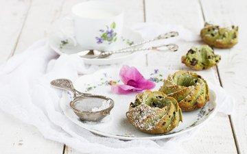 чай, сахарная пудра, пирожное, кексы, stolyevych yulia