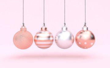 новый год, шары, рендеринг, праздник, рождество, новый год.