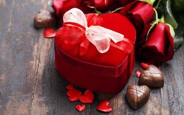 розы, букет, лента, подарок, шоколад, сердечки, день святого валентина, natalia klenova