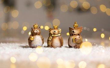 сова, новый год, фон, фигурки, рождество, декор