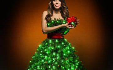 новый год, елка, платье, рождество, гирлянда, шатенка