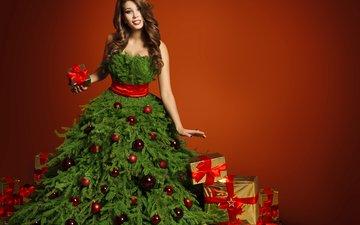 новый год, елка, девушка, платье, подарки, шарики, рождество, бантик, шатенка