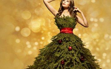 новый год, елка, девушка, платье, ветки, шарики, рождество, шатенка