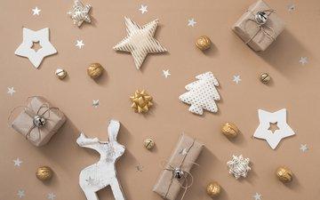 новый год, олень, подарки, звездочки, рождество, новогодние украшения
