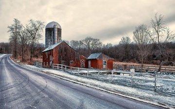 дорога, снег, природа, зима, дом, сельская местность